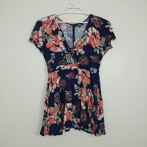 Lulus Babydoll Top Tie Open Front Floral XL #3122